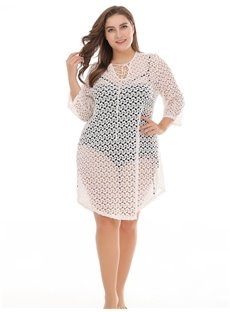 Sexy Pierced Lace Beach Smock Plus Size Dress
