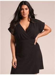 Pure Color Shir Polyester Sexy Style Plus Size Dress