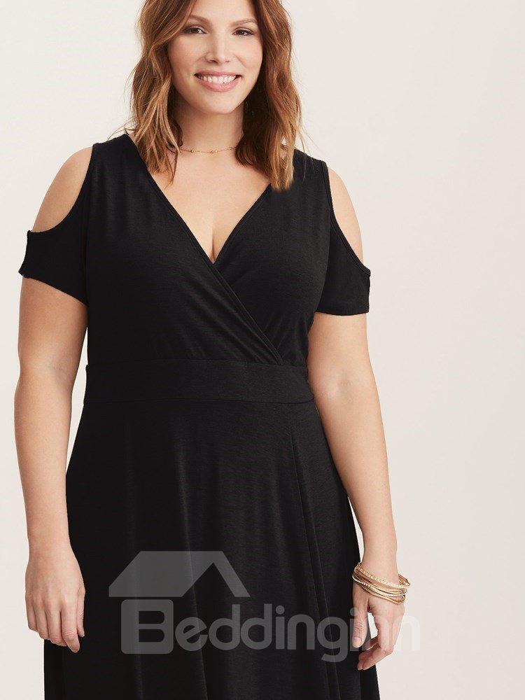 Short Sleeve Off-The-Shoulder Pure Color Plus Size Dress