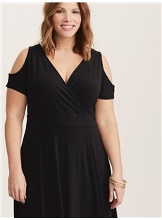 Short Sleeve Off-The-Shoulder Pure Color Plus Size Dress