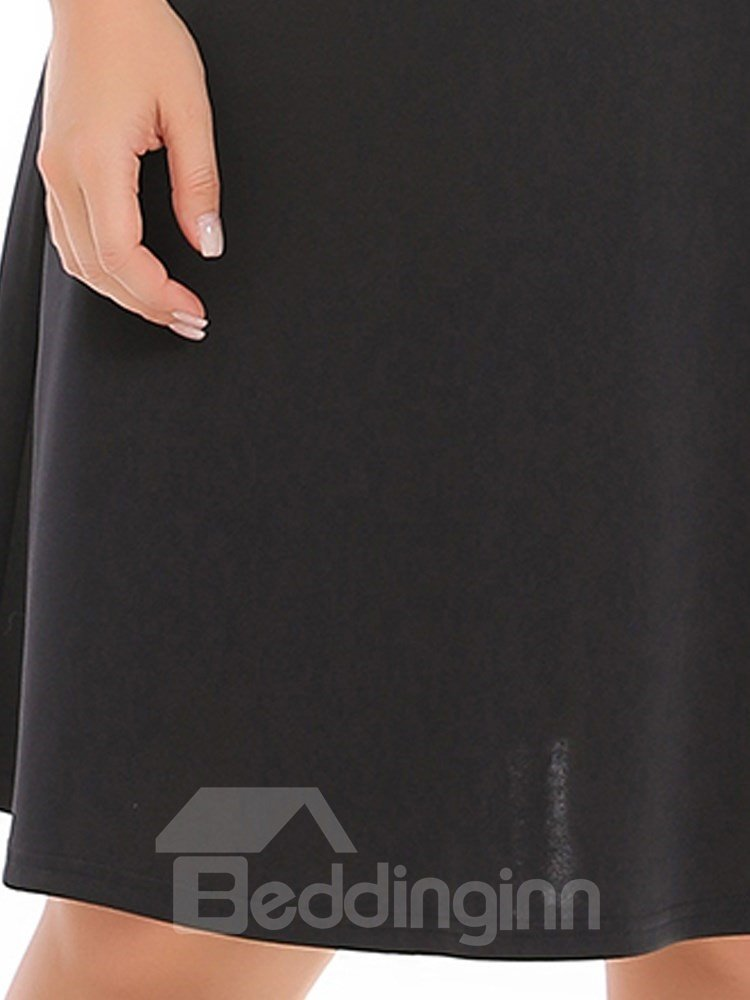 High-Waist Spandex Pure Color Knitting Technics Plus Size Dress
