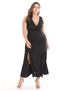 Polyester Ankle-Length Sleeveless Pure Color Plus Size Dress