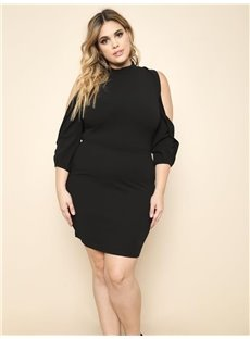 Long Sleeve Off-The-Shoulder Polyester Plus Size Dress