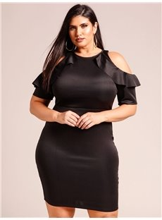 Pure Color Off-The-Shoulder Spandex Plus Size Dress