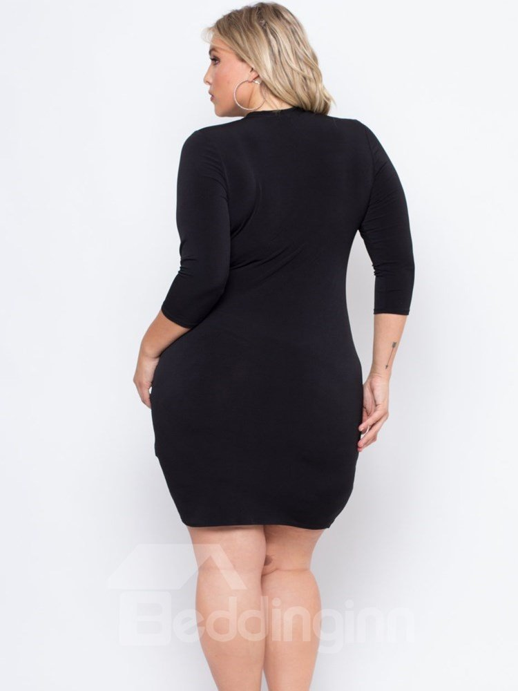 Slim Model Long Sleeve Pure Color Polyester Plus Size Dress