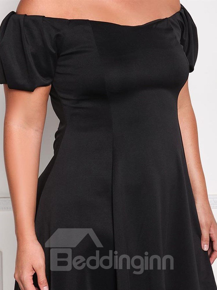 Boat Neck Pure Color Polyester Fitting Line Plus Size Dress