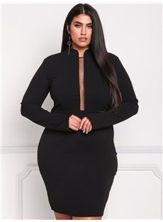 Long Sleeve Polyester Pure Color Knee-Length Plus Size Dress