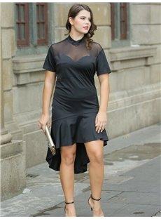 Pure Color Flouncing Polyester Soft Plus Size Dress
