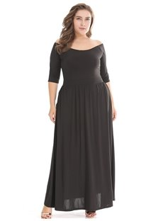 Boat Neck High Waist Knitting Pure Color Plus Size Dress