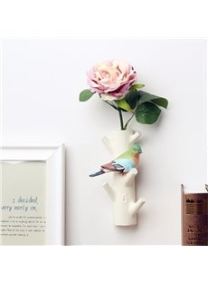 4 Pattern Branch With Birds Design Resin Material Decorative Wall Hooks