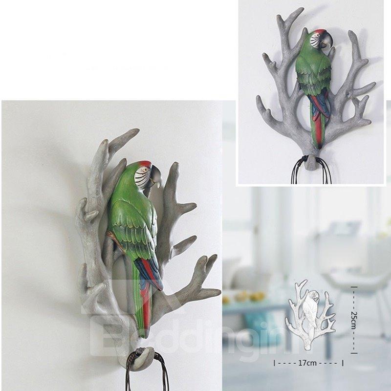4 Pattern Environment Friendly Resin Bird Branch Design Decorative Wall Hooks