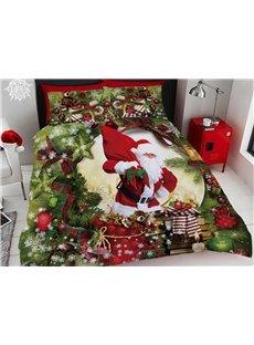 3D Santa Claus and Christmas Ornaments Digital Printing Cotton 4-Piece Bedding Sets/Duvet Covers