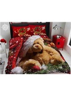 Onlwe 3D Brown Bear Wearing Christmas Hat Digital Printing Cotton 4-Piece Bedding Sets/Duvet Covers