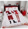 Unique Men and Women Santa Claus Costume Printing Cotton 3D 4-Piece Bedding Sets/Duvet Covers