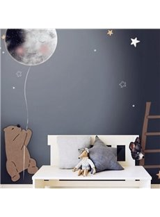 Waterproof Non-woven Fabrics Environment Friendly Cartoon Bear And Balloon Kid Room Wall Mural