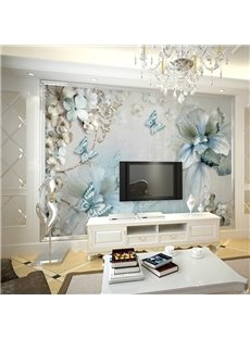 Waterproof Non-woven Fabrics Environment Friendly Blue Flower TV Background Wall Mural