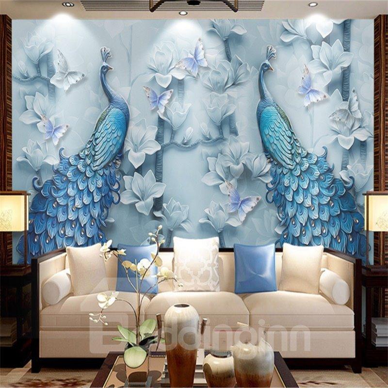 Non-woven Fabrics Environment Friendly Waterproof Peacock Dreamlike Wall Mural