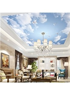 Environment Friendly Waterproof Non-woven Fabrics Sky And Cloud Wall Mural
