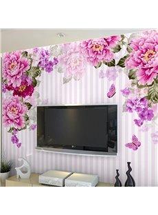 Non-woven Fabrics Environment Friendly Waterproof Peony Room Wall Mural