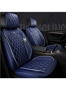 High-class Leather Pure Color With White Cross Lines Design Truck Seat Covers