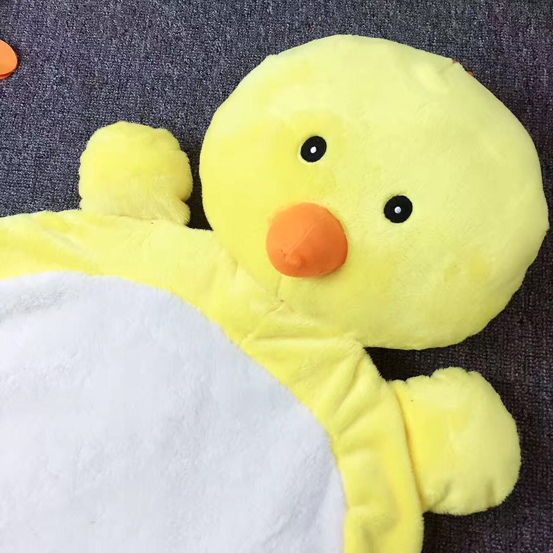 Yellow Duck 21.7*37.4in Shape Coral Velvet Fabric Home Decoration Baby Rug