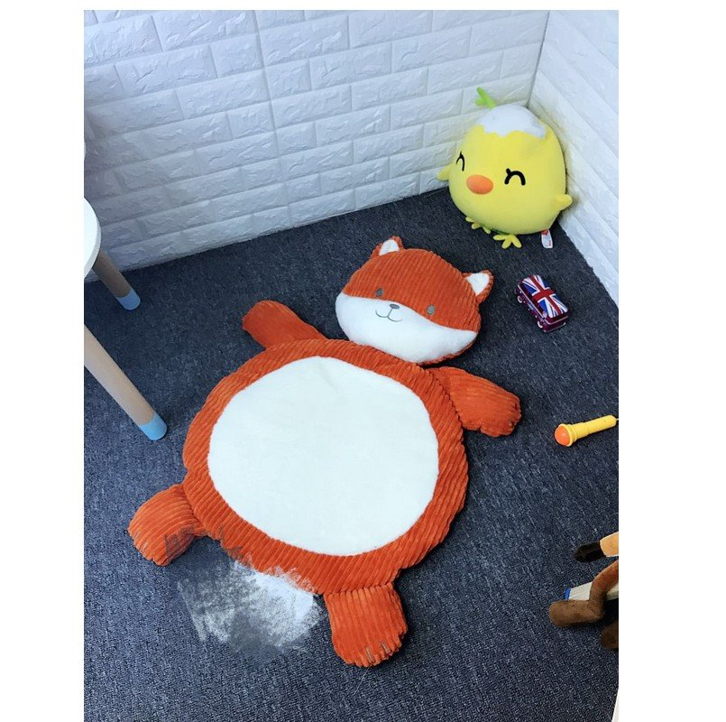 Fox Shape 21.7*37.4in Coral Velvet Fabric Home Decoration Baby Rug