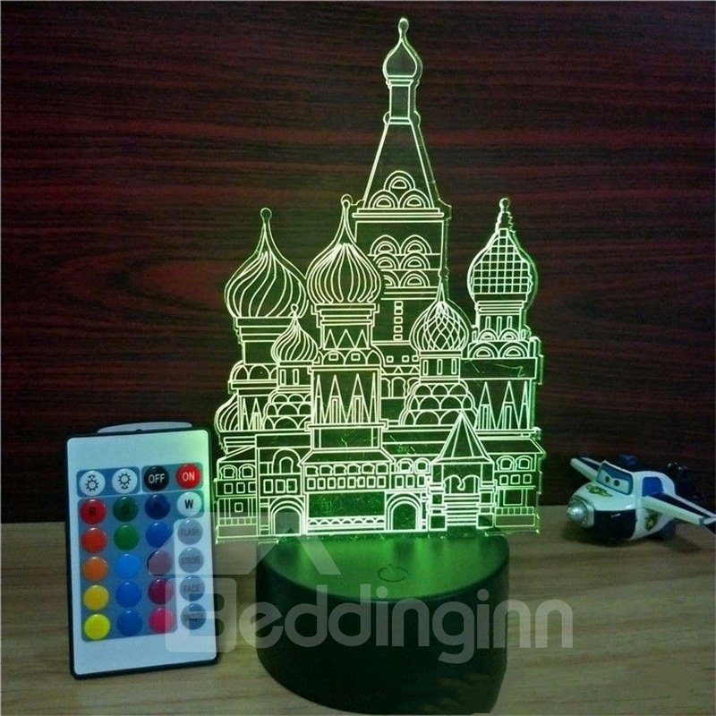 3D LED 7 Color Changing Castle Table Lamp USB Night Light/Lamp