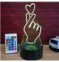 Heart Gesture Shape 3D LED 7 Color Changing Table Lamp USB Night Light/Lamp