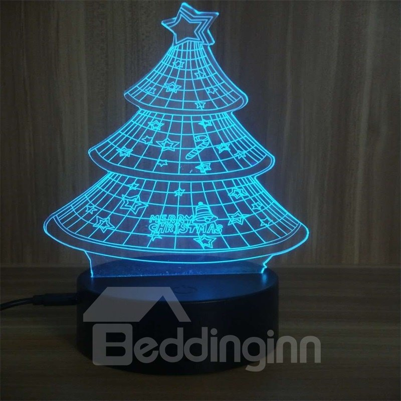 3D LED 7 Color Changing Christmas Tree Table Lamp USB Night Light/Lamp