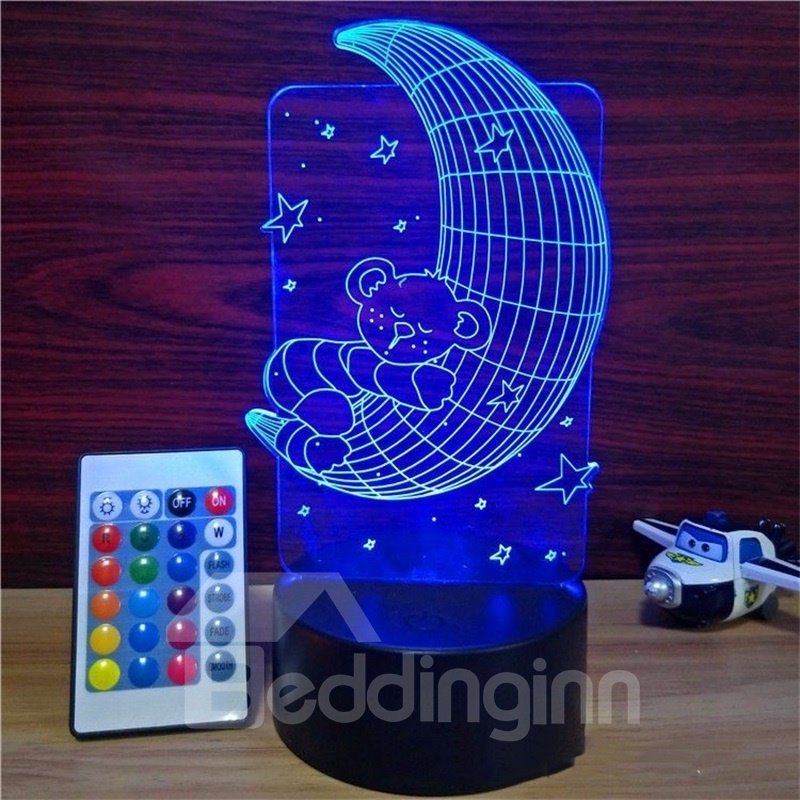 3D LED 7 Color Changing Sleeping Moon Table Lamp USB Night Light/Lamp
