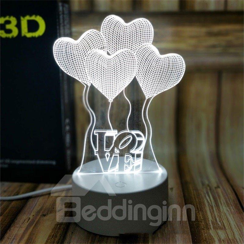 7 Color Changing 3D LED Heart Ballon Table Lamp USB Night Light/Lamp