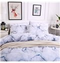 Large Texture White Marble Printed Polyester 3-Piece Bedding Sets/Duvet Cover