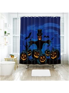 Scarecrow Pumpkin Halloween Scene Pattern Polyester Anti-Bacterial Shower Curtain