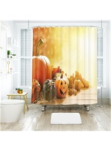 Bright Pumpkin Halloween Scene Pattern Polyester Anti-Bacterial Shower Curtain