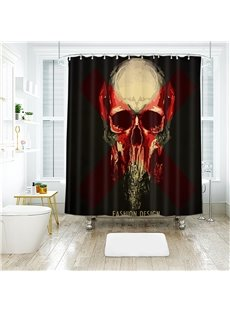 Blood Color Horrific Skull Halloween Scene Pattern Polyester Anti-Bacterial Shower Curtain