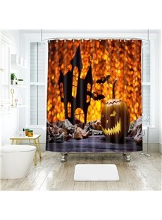 Pumpkin Halloween Scene Pattern Polyester Anti-Bacterial Shower Curtain