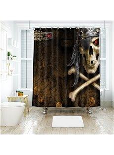 Skull Halloween Scene Pattern Polyester Anti-Bacterial Shower Curtain