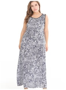 Beach Printing Casual Style Printing Plus Size Dress