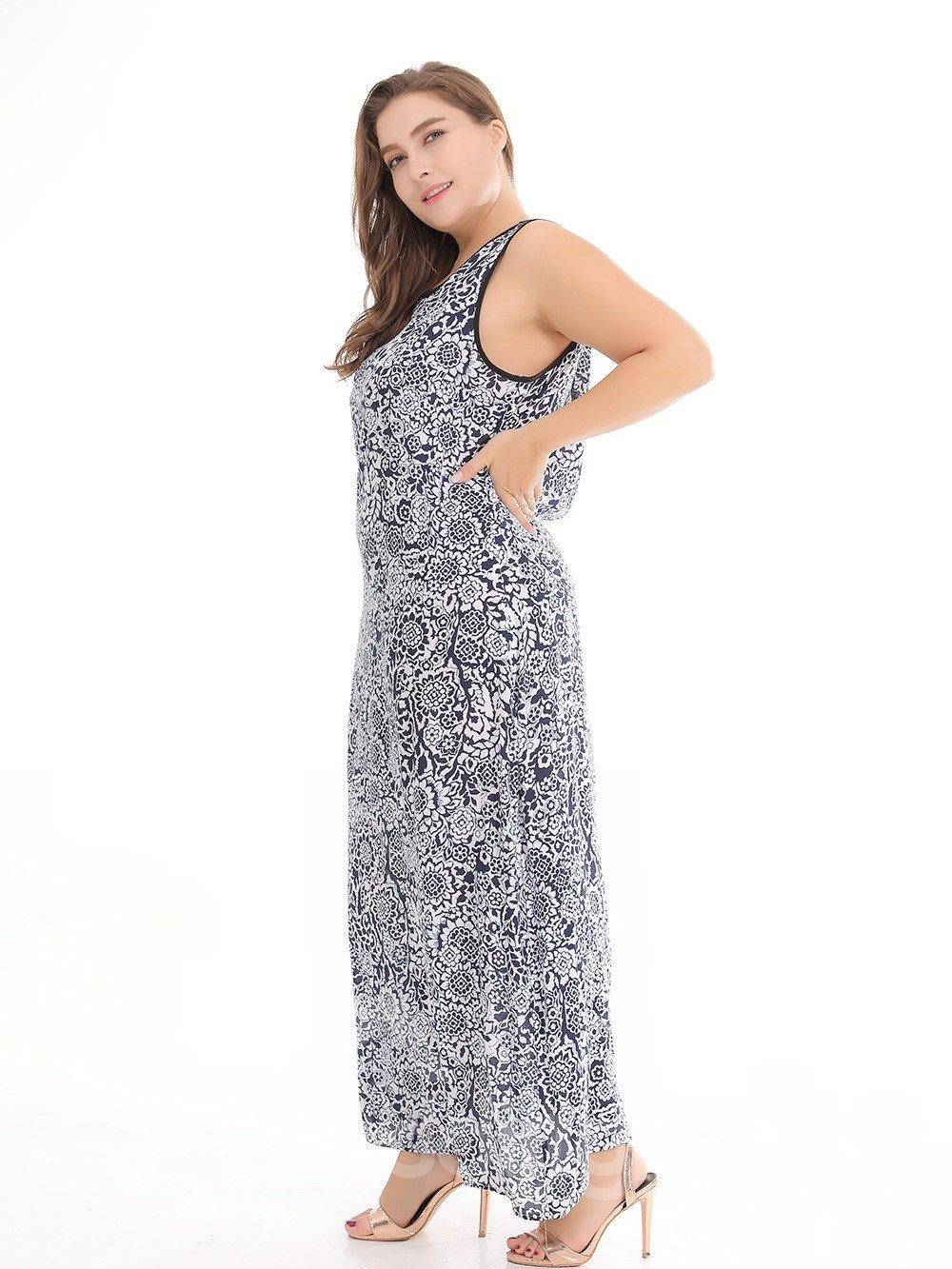 Beach Printing Casual Style Printing Plus Size Dress
