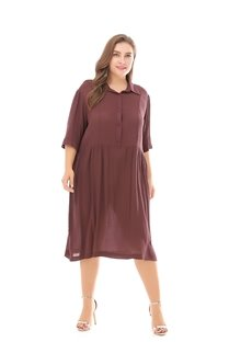 Casual Style Cotton Pure Color Plus Size Dress