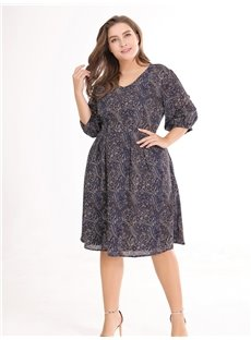 Half Sleeve Pullover Polyester A-Line Silhouette Plus Size Dress