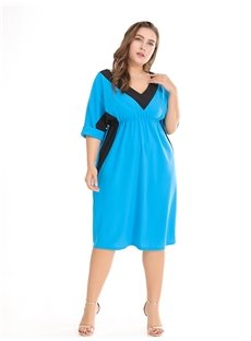 V-Neck Half Sleeve Casual Style Polyester Plus Size Dress