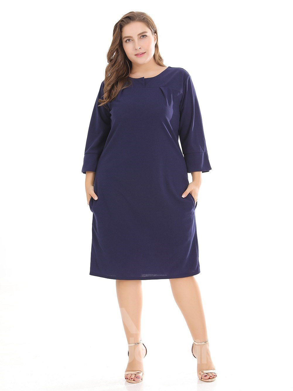 Pure Color Urban Casual Style Plus Size Dress
