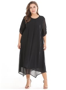 Loose Model Casual Style Chiffon Half Sleeve Plus Size Dress