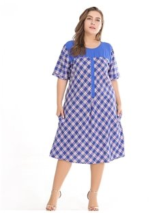 Casual Style Plaid Pattern Cotton Plus Size Dress