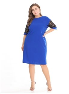 A-Line Silhouette Polyester Knee-Length Half-Sleeve Plus Size Dress