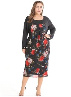 Urban Casual Style Printing Long Sleeve Polyester Plus Size Dress