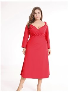 Long Sleeve Polyester Simple Style Pure Color Plus Size Dress