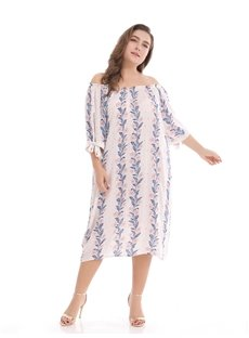 Knee-Length Three-Quarter-Sleeve A-Line Silhouette Plus Size Dress
