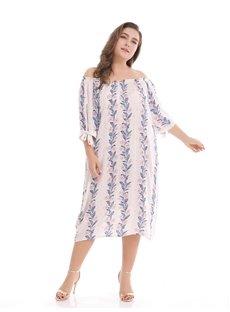 Knee-Length Three-Quarter-Sleeve A-Line Silhouette Plus Size Dress